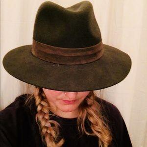 Green felt wide brim hat
